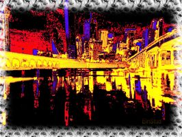 Dallas Texas Skyline Abstract by BL8antBand