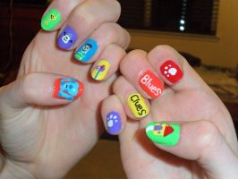 Blues Clues Nails by JennyBean4u