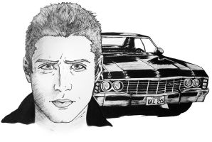 Dean Winchester and the Impala by alifsu17