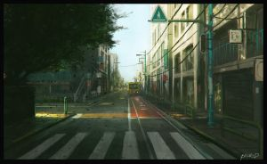 empty street in japan by cstlmode