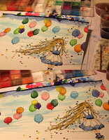 WIP: Paperstars and Balloons by lynchees