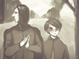 A sketch of Harry and Snape x) by Julia-Kisteneva