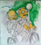 Mr Burns and Smithers on the bike by AlBrolz