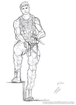Soldier sketch 6 by Auzzymo