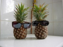 Pineapples in sunglasses by Wolflaz