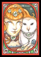 Nouveau Tangerine And Owl by natamon