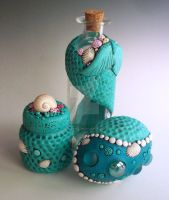 Mermaid bottles and egg by MandarinMoon