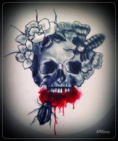 bleeding skull tattoo flash by oldSkullLovebyMW