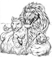Lion and Cubs by BiggCaZ
