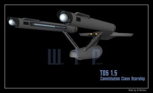 TOS 1.5 Constitution Class Starship by dragonpyper