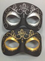 Reverse Day of the Dead gold and silver masks by maskedzone