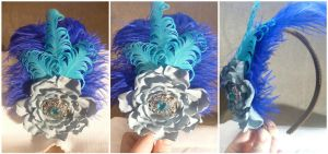 Blue Feather Hair Band Fascinator by AbsolutelyFascinated