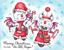 Kupo! said the Candy Cane Moogles by LadyJuxtaposition