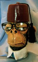 Office Ape with Fez jug by thebigduluth