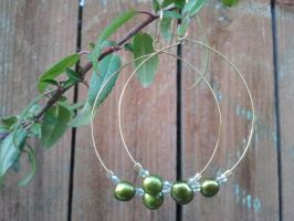 Olive Green Pearls on Gold Plated Memory Wire by CharmingLittleFox
