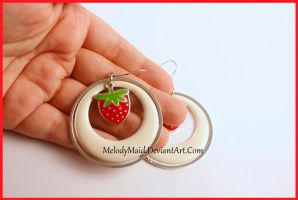 Strawberry Hoop Earrings by MelodyMaid