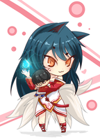 Ahri with a doll by Xyrise