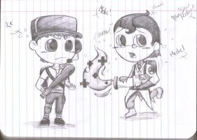 Chibi Scout and Medic by Remlit-Kitten