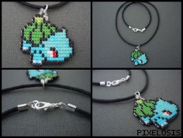 Handmade Seed Bead Bulbasaur Necklace by Pixelosis