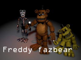 Freddy fazbear and Golden Freddy and endoskeleton by NathanzicaOficial