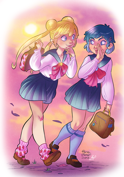 Sailor Moon - Sailor at school colors by xxxKei87xxx