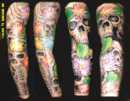 Skulls And Lotuses Sleeve by InkBrothersBG