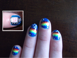 Nyan Nails by wittlecabbage