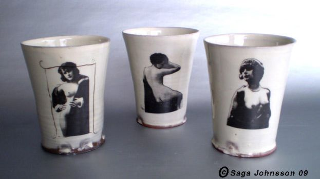 3 mugs with vintage ladys by zzaga