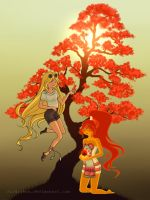 Fionna and Flame Princess Hippie Style by Siraviena