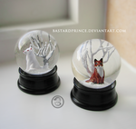 : pair of little kitsune snowglobes : by BastardPrince