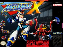 Megaman X SNES box cover by Hellstinger64