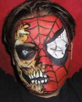 Zombie Spiderman Face paint by dragonhuntr