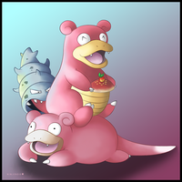 Slowpoke and Slowbro by Ninjendo