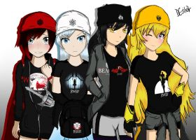 Team RWBY Dressed in Merchandise by DGsilv3r