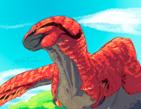 Doodle - Feathered Dino 2 by SpottedAlienMonster