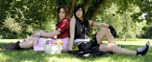 A moment of peace - Aerith and Tifa by xSan-chi