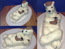 Polar Bear's Cafe Birthday Cake by MomIsMean