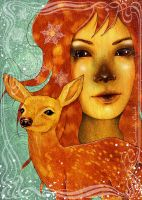 Deer Maiden Winter Fawn Woman by enchantedgal