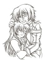 Lelouch and Shirley -lineart- by XaioLoon