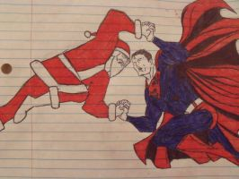 Santa Vs Superman by fluffylink