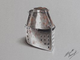 Medieval Helm DRAWING by MArcello Barenghi by marcellobarenghi