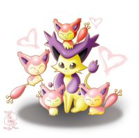 Mama Delcatty and Her Baby Skitty by HavocGirl