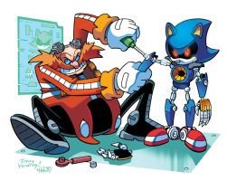 Eggman and Metal Sonic (Coloring Commission) by herms85