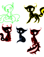 Shadow Cats-Sketches by cluelessAvian