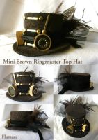 Mini Brown Ringmaster Top Hat by flamarahalvorsen