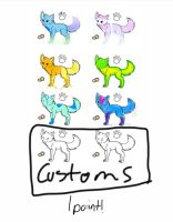 Free Wolf Adopts- Customs only left by WolfyDragonlover