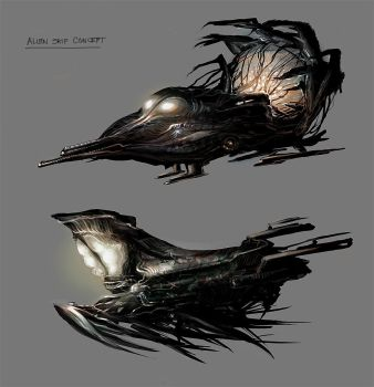 Alien Ship Concepts by allisonchinart