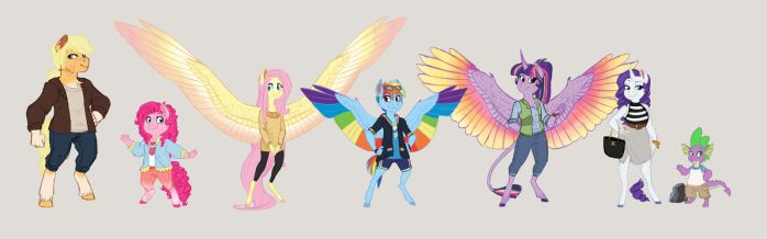 Mane 6 Lineup (Road Trip! Project) by Earthsong9405