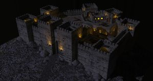 Crusader castle at nightfall by LordGood