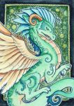 Green Embellished Dragon ACEO by starwoodarts